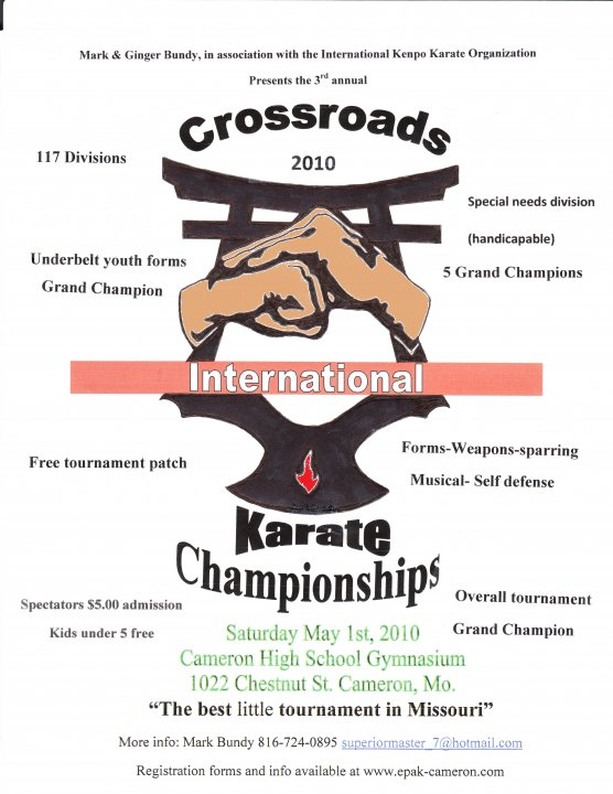 "updated flyer for the Crossroads ""INTERNATIONAL"" Karate Championships"